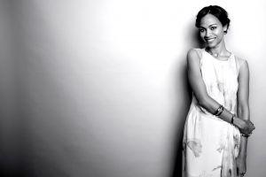 monochrome actress women ebony zoe saldana celebrity