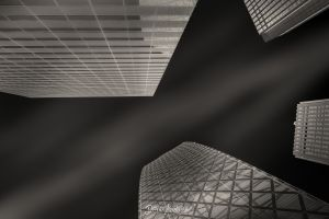 monochrome architecture building worm's eye view