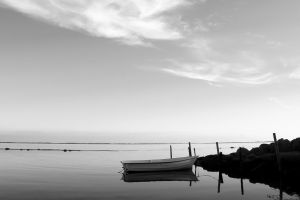 monochrome boat reflection sea coast water photography