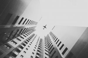 monochrome building airplane