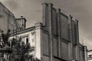 monochrome building urban chimneys france