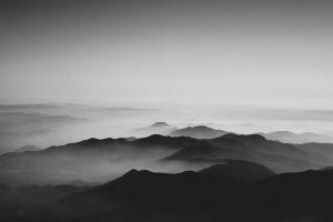monochrome calm mountains mist white black sky clouds