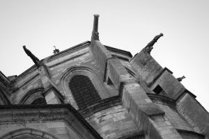 monochrome castle church window