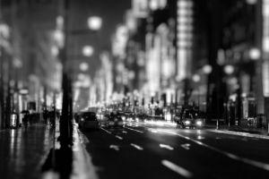 monochrome city urban street