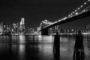 monochrome cityscape urban skyscraper reflection brooklyn bridge building bridge city new york city water architecture photography