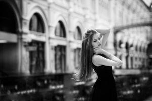 monochrome hair   urban city women dress black