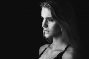 monochrome looking away model face women
