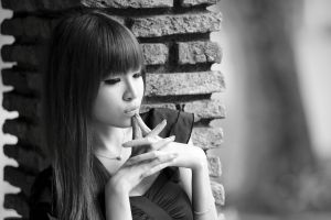 monochrome model bricks asian women