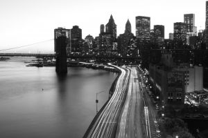 monochrome new york city bridge sky