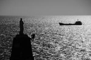 monochrome statue photography cargo sea ship