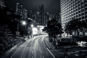 monochrome street night city lights street light building road lights photography hong kong city architecture road sign urban gray