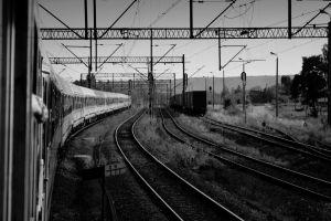 monochrome train photography railway