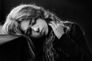 monochrome women portrait model face