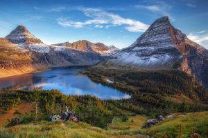montana water mountains nature lake glacier national park landscape grass snowy peak forest