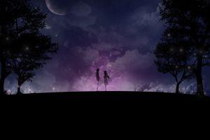 moon couple space stars trees