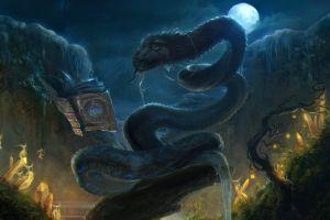 moon fairies fantasy art artwork snake