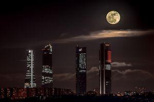 moon night sky night city cityscape