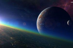 moon space stars galaxy planet