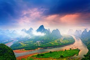 morning china village field guilin landscape sky river clouds mountains mist road nature