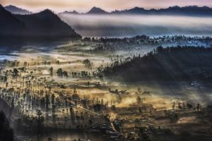 morning nature valley mist landscape indonesia villages mountains