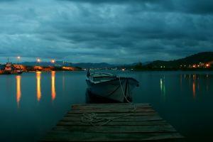 morning street light harbor overcast bay nature boat