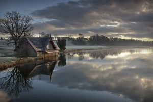 morning water nature lake trees ireland clouds cottage frost landscape reflection