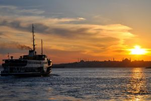 mosque ship istanbul bosphorus sunset silhouette