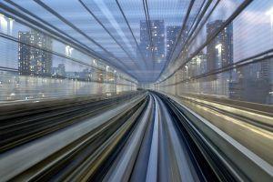 motion blur city skyscraper metro japan tokyo