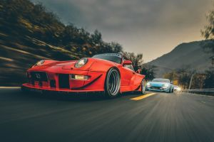 motion blur vehicle racing porsche red cars