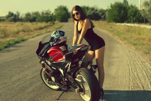 motorcycle black heels high heels road women sensual gaze tight clothing women with glasses sunglasses