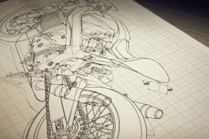 motorcycle classic art drawing