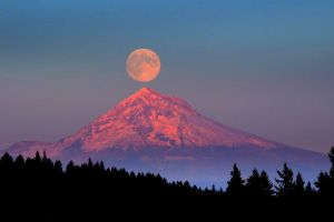 mountain top nature moon