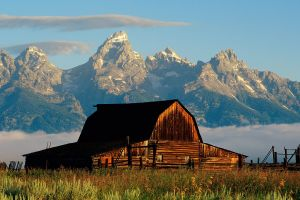 mountains barn landscape nature