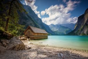 mountains clouds beach nature trees landscape boathouses alps summer lake