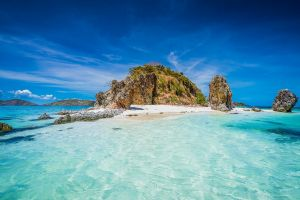 mountains clouds landscape beach nature water rock turquoise tropical island sea sand summer philippines