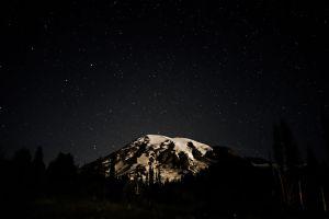 mountains dark stars landscape