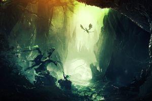 mountains digital art fantasy art artwork forest dragon