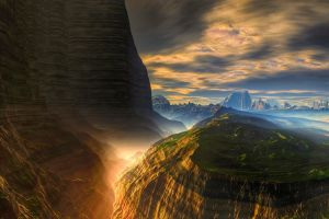 mountains erosion nature landscape atmosphere mist clouds sunlight sky cliff