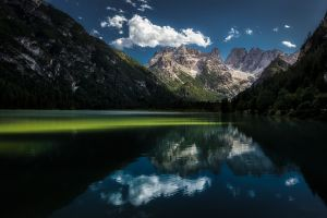 mountains forest water clouds lake sunlight reflection landscape meditation nature calm