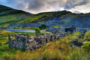 mountains grass lake hdr castle wales landscape ruin trees nature hills house rock clouds bricks