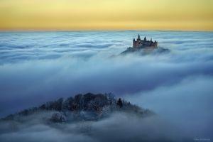 mountains landscape castle neuschwanstein castle orange sky