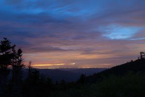 mountains landscape city lights dusk horizon