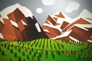 mountains landscape low poly trees