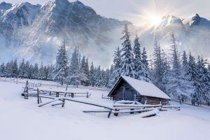mountains landscape nature winter cabin snow