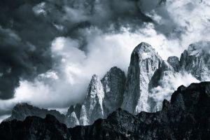 mountains mist dolomites (mountains) landscape clouds monochrome nature canada rock dark british columbia