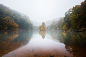 mountains nature fall pond calm waters mist trees landscape
