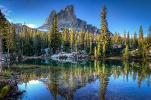 mountains nature lake landscape trees calm water forest hdr reflection blue idaho