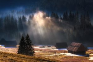 mountains nature landscape snow mist forest cabin sun rays trees