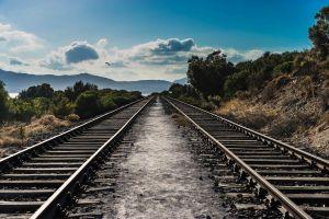 mountains parallel landscape railway