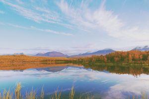 mountains reflection lake landscape fall